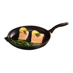 "Swiss Diamond - Nonstick Fry Pan - 12.5"" - Swiss Diamond's largest Fry Pan, the 12.5 inch (32 cm) skillet, is perfect for pork chops and other large cuts of meat. The diamond-reinforced coating browns and sears like stainless steel without the messy clean-up. Trying to drop some pounds? No problem  Swiss Diamonds exceptional nonstick surface allows cooking with little to no oil for a healthier meal. Designed to stay cool on the stove, the ergonomic handle provides balance and comfort as you prepare your favorite recipes. The thick cast aluminum walls distribute heat uniformly across the pan to warm contents evenly. Safe for dishwasher use, but we recommend hand washing. Made in Switzerland. Also available with a heat-tempered glass lid."
