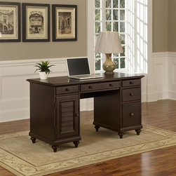 HomeStyles - Espresso Pedestal Desk - Inspired by the fusion of British colonial and old world tropical design, the Bermuda Pedestal Desk highlights poplar solids and mahogany veneers in a deep, Espresso finish. Further inspiration can be found in the shutter style designs and turned legs. Bounteous storage is provided with three storage drawers, one drop-down front drawer which can be used as a keyboard tray, one large file drawer, and storage door. The storage door opens to reveal a PC tower storage area with a removable shelf. Other features include cable access openings and antique brass hardware. 54 in. W x 24 in. D x 30.5 in. H