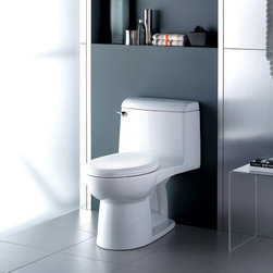 """American Standard Champion 4 Elongated One-Piece Toilet - Meet the Champion® 4, the undisputed leader in high performance toilets. With the industry's widest 2 3/8"""" trapway and 4"""" flush valve, it virtually eliminated clogged toilets for homeowners and call backs for plumbers. The Champion 4 will move a mass 70% larger than the industry standard. It achieves the highest bulk removal rating of 1,000 grams and will even flush a bucket of golf balls! Which means you can flush with confidence!"""