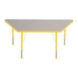 "Ecr4kids - Ecr4Kids Adjustable Activity Table - Trapezoid 30"" X 60"" Elr-14119-Gye-Tb Yellow - Table tops feature stain-resistant and easy to clean laminate on both sides. Adjustable legs available in 3 different size ranges: Standard (19""-30""), Toddler (15""-23""), Chunky (15""-24""). Specify edge banding and leg color. Specify leg type."