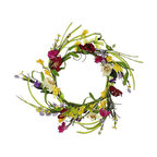 Shea's Wildflowers Company - Wildflower Mini Wreath - Not just for Christmas anymore, this lovely addition to a home's entrance gives décor a breath of festive, fresh air from the outside in.   6'' diameter Polysilk / grapevine Imported