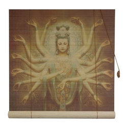 Oriental Unlimited - Thousand Arm Kwan Yin Bamboo Blinds (48 in.) - Choose Size: 48 in.Feature a classic image of a Thousand Arm Kwan Yin. Easy to hang and operate. 24 in. W x 72 in. H. 36 in. W x 72 in. H. 48 in. W x 72 in. H. 60 in. W x 72 in. H. 72 in. W x 72 in. H