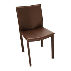 """TFG - Elston Parsons Chair - This Elston Chair features a hand sewn supple leather seat and back. The legs are also leather wrapped and hand sewn. The underlying construction includes a steel frame and firm foam cushions. Features: -Elston Chair.-Chairs feature hand sewn supple leather seats and back.-Legs are leather wrapped and hand sewn.-Underlying construction includes a steel frame and firm foam cushion.-Collection: Elston.-Hardware Finish: Stainless Steel.-Distressed: No.-Powder Coated Finish: No.-Gloss Finish: No.-Frame Material: Steel frame with bonded leather.-Hardware Material: Stainless steel.-Number of Items Included: 1.-Non-Toxic: Yes.-Weather Resistant or Weatherproof: Not weather resistent.-Scratch Resistant: No.-Rust Resistant: No.-Stain Resistant: No.-Fire Retardant: No.-Mildew Resistant: No.-Arms Included: No.-Seat Upholstery Material: Bonded leather.-Removable Seat Cushions: No.-Seat Cushion Fill Material: Foam.-Removable Seat Cushion Cover: No.-Tufted Seat Upholstery: No.-Welt on Seat Cushions: No.-Back Upholstery Material: Bonded leather.-Removable Back Cushions: No.-Back Cushion Fill Material: Foam.-Removable Back Cushion Cover: No.-Tufted Back Upholstery: No.-Welt on Back Cushions: No.-Nailhead Trim: No.-Swivel: No.-Foldable: No.-Stackable: No.-Number of Legs: 4.-Leg Material: Steel legs upholstered with bonded leather.-Casters: No.-Protective Floor Glides: No.-Adjustable Height: No.-Ergonomic Design: No.-Saddle Seat: No.-Outdoor Use: No.-Weight Capacity: 275 lbs.-Swatch Available: Yes.-Commercial Use: No.-Recycled Content: No.-Eco-Friendly: No.-Product Care: Wipe clean with a dry cloth.Specifications: -FSC Certified: No.-ISTA 3A Certified: No.-General Conformity Certificate: No.-Green Guard Certified: No.-ISO 14000 Certified: No.-ANSI BIFMA Certified: No.Dimensions: -Overall Height - Top to Bottom: 33"""".-Overall Width - Side to Side: 16.5"""".-Overall Depth - Front to Back: 15"""".-Seat Height: 18"""".-Seat Width - Side to Side: 16.5"""".-Seat Depth - Fro"""