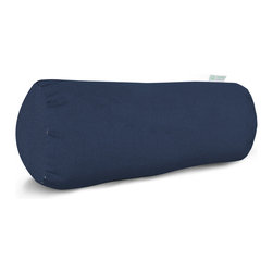 Majestic Home - Outdoor Navy Blue Solid Round Bolster - Bolster pillows add some fun shape variety to your throw pillow collection; they fit well into the corners of your couch or settee, and they make great neck support pillows. This one has a deep, neutral color that would brighten up a casual couch, bench or lounger, and it's treated so that you can use it on the deck. The cover can also be removed for easy cleaning. Try it with some nautical-themed decor.