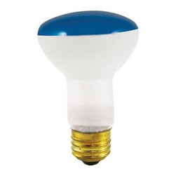Bulbrite - Reflector Incandescent Bulbs in Blue Shade - One pack of 12 Bulbs. 120V E26 intermediate base bulb. 360 degrees beam spread. Long life. Colored reflectors add a festive and fun touch to any application. Ideal for indoor residential and commercial use lighting. Perfect for recessed cans, sign, display, track applications. Dimmable. Average hours: 2000. Color rendering index: 100. Wattage: 50 watt. Maximum overall length: 4 in.