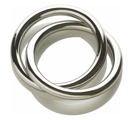 """Alessi - Alessi """"Oui"""" Napkin Ring - Unsure about your next dinner engagement? Your guests will now pronounce you stylish for life with this napkin ring. There are two interlocking bands of stainless steel in your choice of mirror or graphite finishes. Don't get cold feet. You know you want to say """"Yes."""""""