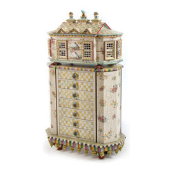 Chicken Palace Jewelry Armoire | MacKenzie-Childs - Right outside our windows, our very own Chicken Palace provides the inspiration for this spectacular piece. Add imagination and the result is uniquely MacKenzie-Childs: crackle finish and mirror mosaics; floral decals; hand-painted checks, stripes, and faux marbling; handmade ceramic rabbit drawer pulls, turtle feet, and finials; and a sweet blue bird perched on the rooftop. The two-piece armoire and jewelry box top has 39 drawer compartments (even some hidden ones), and each is lined with lush pink velvet. Hinged sides open to reveal a painted interior with hooks and storage for necklaces and bracelets. Imported mahogany armoire is hand-decorated and finished by our artisans in Aurora.