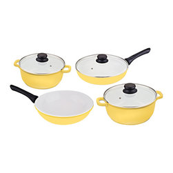 Vinaroz - 7-Piece Ceramic Coated Cookware, Dishwasher Safe. - 7-piece cookware set includes 4.2-quart covered casserole, 6.8-quart covered casserole, 11-inch covered deep-fry pan and 12-inch stir-fry wok