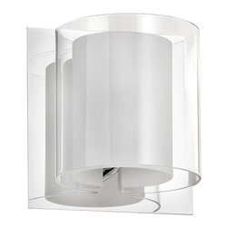 Dainolite - Dainolite 1LT Sconce Double Glass - 1 Light Sconce, Polished Chrome, Clear / Frosted White Glass