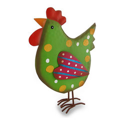 """Zeckos - Whimsical Green Glitzy Chicken Colorful Tin Sculpture - Dressed up in glitter and stripes, this chicken has flown the coop to live the """"clucky"""" life in your kitchen, office or dining room Crafted from tin and hand-painted in pink and green with yellow glitter polka dots and sparkling blue stripes, this """"Hen-pecked"""" 10.75 inch (27 cm) high, 8 inch (20 cm) long, 2.75 inch (7 cm) wide chicken sculpture is sure to have you """"crowing"""" with delight"""