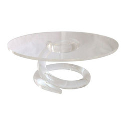 Used Lucite Cake Stand - Need a fun way to display those cakes and cupcakes? We've got just the piece! A unique lucite cake stand with a spiraling lucite base. No maker's mark visible.