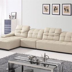 Advanced Adjustable Leather Curved Corner Sofa with Tufted Upholstery - Features: