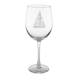 Rolf Glass - Sailboat Wine Glass, Clear, 9.25x3, All-Purpose - The important thing isnt where you are going, its staying in motion. What better way to keep afloat than with our sailboat collection. You can almost feel the wind in your hair, while you sip on a refreshing cocktail out of these double etched designs.  Made in USA.