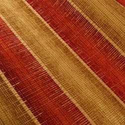 About Time Upholstery in Cayenne - About Time Chenille Stripe Upholstery Fabric Cayenne Red & Yellow. Durable synthetic blend perfect for upholstering furniture, drapery, or pillows.