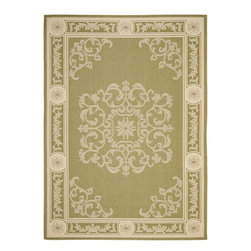 "Safavieh - Courtyard Green/Brown Area Rug CY2914-1E06 - 6'7"" x 9'6"" - Safavieh takes classic beauty outside of the home with the launch of their Courtyard Collection. Made in Belgium with enhanced polypropylene for extra durability, these rugs are suitable for anywhere inside or outside of the house. To achieve more intricate and elaborate details in the designs, Safavieh used a specially-developed sisal weave."