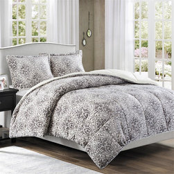 Premier Comfort - Premier Comfort Printed Microlight Down Alt Comforter Mini Set - Want style and warmth this season? The Printed Microlight down alternative comforter mini set is perfect for you! The comforter and sham features a grey medallion pattern that is printed on off white microlight fabric. This fabrication is knitted with the best technology to provide ultra loft and softness. The reverse is made of long fur fabric. The comforter is fill with down alternative to provide extra warmth and comfort. Comforter: 220gsm printed micrlight face, 220gsm natural colour long fur back, knife edge, 6D fiber fill-35oz, sewn thru box; Sham: 220gsm printed microlight face, 220gsm natural colour long fur back, knife edge, overlap at back