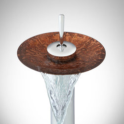 Jaren Waterfall Vessel Faucet with Pop-Up Drain - Add a new dimension to your bathroom counter with the Jaren Waterfall Vessel Faucet, which features bright coloring and a textured design.