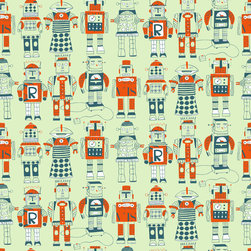 Loboloup - Robots, Pale Celedon, Roll - With machine parts and personality to spare, these retro robots are a class act.