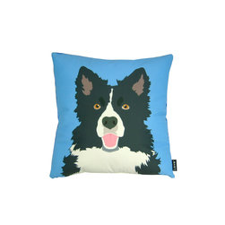 Lava - Border Collie! 18 x 18 Pillow - 100% polyester cover and fill. Backed with plush faux fur material. Made in USA. Spot clean only