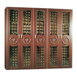 Vinotemp - VINO-1500CONCORD-U Concord Oak Wine Cooler Cabinet with 960 Bottle Capacity  Unf - This beautiful oak wine cabinet is not only storage and protection for up to 960 bottles of wine it is also a gorgeous piece of furniture that will enhance any room its placed in The hand carved grape motif and circular woodwork on each door offers a...