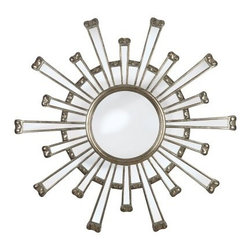 Cameron Wall Mirror - 11 diam. in. - The Cameron Wall Mirror features a bold sunburst design perfect for adding style to our living room or master bedroom. This mirror features a bright silver finish to catch the eye. There are two mounting brackets on the backside for a secure hold so your style will hold tight wherever you choose to display it.About Kenroy HomeEmployee-owned Kenroy Home creates a large range of lighting and home decor products. Having recently purchased Hunter Lighting Group Kenroy Home is now positioned to expand their product lines and take their customer focus to the next level. With an experienced team and advanced equipment Kenroy Home provides an unparalleled spectrum of products and services. Trained designers and technicians create functional works of art that exceed appearance and performance expectations. Their craftsmanship matches materials and finishes to each application for showroom quality at superior values. Product collections are designed to facilitate mix-and-match coordination.