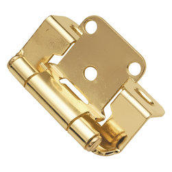 Belwith / Hickory - Belwith Hickory Polished Brass Semi-Concealed Hinge (2-Pack) P2710F-3 Hardware - Functionalism is the principal that design is based on the purpose of that piece.  Hinges, hooks, catches, drawer slides and screws.  All designed for a specific purpose and necessary in every home.. Product Name: Polished Brass Semi-Concealed Hinge (2-Pack)Finished: Polished Brass FinishIncluded: Mounting Hardware IncludedSize . Type: Screw Center to Center in Inches: Diamter: Diamension Length in Inches: 2.25Diamension Width Inches: 1.35Diamension Height Inches: 1.57Weight in OZ: 4Product . Type: HingesStyle: FunctionalFinish Name: Polished BrassAppearance . Finish: Reflective (Mirror)Color Palette: Golds (Brass)Basic Shape: Geometric/Angular