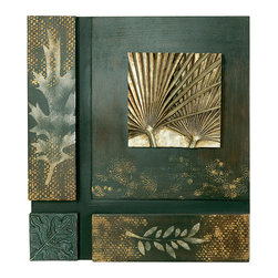Welcome Home Accents - Square Leaf Design Wall Art - This square wall decor features 4 leaves as its conversation piece. On a rubbed black  and gold background , silver and blue leaves are etched. Hooks on back for easy hanging