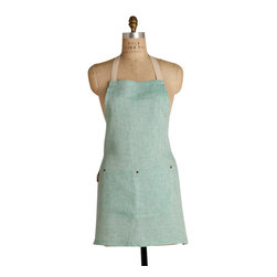 Birdkage - Mint Mini Bib Apron - Cool mint-colored cotton linen gives a sea-breezy freshness to this simply styled bib apron. Casual details such as blue jean rivets and contrasting cream stitching add to the light and easy feel, while the slightly shorter length gives it a hint of flirty femininity. Who knew working in the kitchen could be this refreshing?