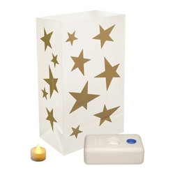 """Lumabase Battery Operated Star Luminaria Kit - Set of 12 - When you wish upon the Lumabase Battery Operated Star Luminaria Kit - Set of 12 you'll be granted the warmth and glow of a welcoming home. Complete kit includes: 12 weather-resistant plastic bags 12 battery operated tea light candles (batteries included) 12 LumaBases (reusable flame-resistant plastic water weighted candleholder that anchors the luminaria). About JH SpecialtiesFounded in 1989 JH Specialties originated when the company's entrepreneurs sought to redesign a bulky and messy celebration staple. Today JH Specialties offers unique decorative Luminarias and accessories for special and seasonal occasions to event planners neighborhoods fundraising organizations and retail stores. Since special occasions shouldn't be hard to plan JH Specialties offer top-of-the-line products for unique events at a competitive price and a great value. The title of """"""""Leader in Luminarias"""""""" comes from their commitment to quality and customer service."""