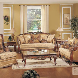 Traditional Living Room Furniture - ARMDS- RITA Classic Fabric Upholstery With Decorative Cherry Wood Trims And Beautiful Accents Pillows Living Room Sofa Set