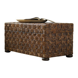 "Hooker Furniture - Abacca Sliding Top Trunk - White glove, in-home delivery included!  Gemelina and hardwood solids with abacca are used to create this trunk's exotic look.  It features a removable tray.  Opening: 34 3/4"" w x 16 1/2"" d"