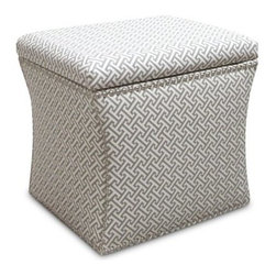 Skyline Square Storage Ottoman - The Skyline Square Storage Ottoman with pewter nailhead trim makes a stately addition to any living area study or bedroom. As functional as it is fashionable this sturdy ottoman features a removable lid exposing a deep storage compartment for anything from books to movies tablecloths to photo albums. Handcrafted in the USA it boasts a wood frame with patterned fabric upholstery that is spot clean only. About Skyline Furniture Manufacturing Inc.Skyline Furniture was founded in 1948 with the goal of producing stylish affordable quality furniture for the home. After more than 50 years this family-run business is still designing and manufacturing unique products that meet the ever-changing demands of the modern home furnishing industry. Located in the south suburbs of Chicago the company produces a wide variety of innovative products for the home including chairs headboards benches and coffee tables.