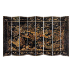 "Inviting Home - Oversize Ming Dynasty Folding Screen - extra large oriental folding screen with hand painted Ming Dynasty scene overall - 160""W x 84""H each panel - 20""W This impressive extra-large eight-panel oriental folding screen is hand-crafted from wood and hand-painted with Ming Dynasty court scene on an antiqued crackled black background. The composition of this oriental screen runs diagonally from the bottom right corner to an upper left and has a definite background and foreground. Oriental screen has inner central and outer border. The inner and outer borders of the folding screen are hand-painted in gold in traditional Chinese ornamental design with scrolled leaf and flowers. The central border features tree vignettes with Chinese writing on the right and left panels and sixteen vignettes with original landscape scenes and blossoming trees on the top and bottom of the folding screen. The main composition is hand-painted by artist with traditional Ming Dynasty scene that continues from one panel to the next. The back of this large oriental screen is hand-finished in antiqued crackled black."