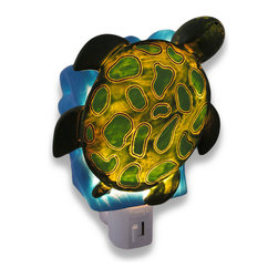 Children`s Sea Turtle Night Light Nite Light - This blue and green sea turtle night light adds a decorative accent to your children`s room while casting a comforting glow in the nighttime hours. Made of cold cast resin, it measures 4 1/4 inches tall, 4 1/2 inches wide, and 2 1/2 inches deep. It has a 360 degree swivel plug to accommodate any outlet, and it uses a 7 watt (max) type C night light style bulb (included). The light has an on/off switch on the front, and is recommended for children ages 6 and up.