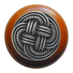 Classic Collection - Classic Weave Wood Knob in Antique Pewter/Cherry