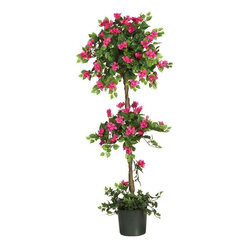 5' Mini Bougainvillea Topiary - Enjoy the warm and colorful design of this breathtaking South American beauty. Tiny delicate pastel petals adorn this slender vine covered tree. A blend of lush green ovate leaves grace the top, center, and bottom of this enchanting creation. The twisting vines add an authentic touch to the entire trunk. A simple planter overflowing with greenery is a nice addition to this gorgeous tree. Height= 5 ft x Width= 24 in x Depth= 24 in