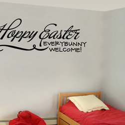 Happy Easter Everybunny Welcome Vinyl Wall Decal hd076, Matte White, 72 in. - Vinyl Wall Quotes are an awesome way to bring a room to life!