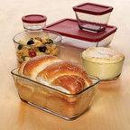 Anchor Hocking - 16-Piece Kitchen Storage Set - 16-piece Kitchen Storage Set (1 cup Round 2 x 2 cup Round 4 cup Round 2 x 1-7/8 cup Rectangle 4-3/4 cup Rectangle 6 cup Rectangle with Red Plastic Lids).