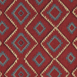 Blue, Red, Beige and Green Diamond Southwest Style Upholstery Fabric By The Yard - This southwest chenille upholstery fabric is great for all indoor upholstery applications. This material is uniquely soft, durable and made in America! Any piece of furniture will look great upholstered in this material.