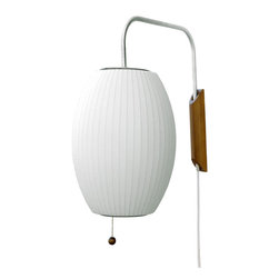 Modernica - Bubble Lamp, Cigar Sconce - Taking its cues from midcentury design, this handcrafted wall sconce features a white ridged shade, a brushed-nickel swivel arm and a walnut mount with plug-in cord. Flank your bed or sofa with a little earthy, organic enlightenment.