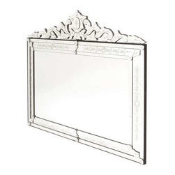 """Go Home Ltd - Extra Large Horizontal Venetian Mirror by Go Home - Whether in a formal, shabby chic, or vintage setting, a Venetian mirror is always an impressive wall accent. This particular mirror crests in the center with a build-up of curls of etched mirror. The center mirror is clear, so this will be a gorgeous accent over a dresser or in a bathroom. And don't forget above a sofa. (GH) 58"""" Long x 1.5"""" Deep x 50"""" High"""