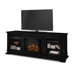 """Real Flame - Hudson Electric Fireplace in Black - Fits up to a 50"""" (diagonal) TV, 100 lb. weight limit"""