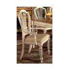 Hillsdale Furniture - Wilshire Antique White Dining Chairs w Arms - This charming dining chair is available in sets of 2 and features a comfortable angled back and sloping arm rests. Its antique white finish and subtle detail is inviting, perfect for a room inspired by a country elegance theme. This set of 2 Dining Arm Chairs in Antique White Finish features ornately detailed spiral legs and rich upholstery for lasting comfort. These finely crafted traditional dining arm chairs are the finishing touch to any country themed dining setting! With a sturdy build and an elegant antique white finish, even the most hardened critic will be at a loss for words with these quality piece of dining room furniture. * For residential use. Picture this armchair at the head of your table.. It will add the look of country chic to your dining area.. These two chairs are finished with an antique white finish that gives the appearance of age.. You will love the padded and upholstered seat that gives style and comfort to the look.. Set of 2 chairs. Antique white finish. 43.07H x 24.72W x 23.46D