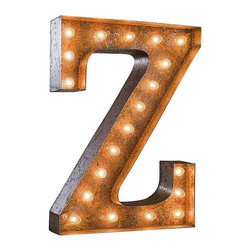 "Used 24"" Vintage Marquee Light - Letter Z - Great for weddings, restaurants, bars, events, home decor, or even photo/set props. These Vintage Marquee Lights are what the ""Pickers"" dream of finding! The are carefully crafted from rusty metal to make them look authentic and antique.  Artificial wear and tear is created on each letter and wear will differ from sign to sign. Color will also vary due to naturally occurring rust.     Due to the rust, inside packaging can become dusty during transit. Open with care. Once open, shake dust off. There is a 24"" tall, 4"" deep (arrow 36"" tall) hanging bracket on back for easy wall installation. New UL Approved wiring, plugs, sockets and C9 bulbs included. 5 spare bulbs per sign also included incase of breakage during shipping. Plug into standard outlet. Indoor/outdoor use."