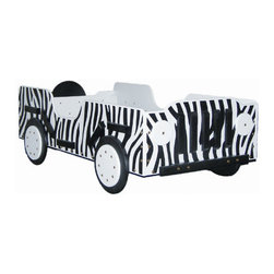 Safari Toddler Bed - Kids will have fun imagining they're roaming the jungle in this safari-themed bed. The design provides higher sides to prevent kids from falling out at night, so they can go ahead and enjoy the ride!