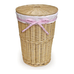 Badger Basket - Natural Round Rattan Hamper - White Waffle Liner - 4 Ribbons - This Nautral Hamper offers the beauty of wicker with the convenience of a liner! Hamper includes: one basket, one liner, one pink gingham ribbon, one blue gingham ribbon, one sage gingham ribbon, and one white waffle ribbon. Mix and match the ribbons to match your decor, or don't use any of the ribbons at all! Slots on the sides of the hamper provide useful hand grips so you can easily carry it to the laundry room. Fabric is a poly/cotton blend and can be machine washed.