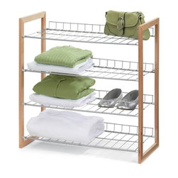 4-Tier Wood And Metal Storage Shelf - Honey-Can-Do SHO-01384 4-Tier Closet Accessory Storage Shelf, Wood Frame.  Multi-purpose wood and steel shelving unit provides fours levels of easily accessible storage space with a contemporary design. Natural wood frame provides style and structure. Sturdy steel shelves are perfect for sweaters, shoes, bags, or anything you'd like to keep organized and visible. Elevated shelf back keeps items in their place. Perfect for any room in the house.