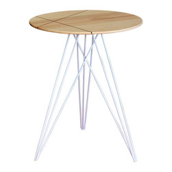 Tronk Design - Hudson Table Maple Inlay, White - This eye-catching piece combines an industrial structure with sophisticated modern accents. The intersecting metal legs almost seem to play tricks on the eyes and change shape as you circle around the table. It is finished with a slim and elegantly carved wooden tabletop that gently tapers, creating a very thin edge reminiscent of traditional Danish furniture. To top it all of, the tabletop may come with a stunning intersecting diagonal accent inlay that goes completely through the tabletop. The color options for the powder-coated base are red, green, orange, yellow, white or black. The tabletop comes in either solid Walnu, Walnutt with Maple inlayed, solid Maple or Maple with a Walnut inlay.
