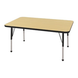 "ECR4Kids - 30"" x 48"" Rectangular Adjustable Activity Table in Maple - ECR adjustable leg activity tables feature 1.125 thick tabletops with laminate on both the top and bottom. Color-coordinated powder-coated upper legs, edgebanding, and matching polypropylene ball glides in the most popular classroom colors. Will not fade or discolor. Safe, non-toxic, stain-resistant and easy to clean. Tabletop Details: -Laminate table tops are 1.125 thick and are laminated on both sides. -Color-banding grips into the tabletop edges. -Color banding is made from PET and contains no phthalates. -The table substructure is made from medium-density particleboard (47 lb/ft³) that is at least 90% recycled (minimum 4% post-consumer, balance pre-consumer).. -EPP certified, CARB compliant and may contribute to US Green Building Councils LEED Credits. -18 gauge galvanized steel stability bars, with poly caps, installed on underside of all 66 - 72 length tables. -Superior shipping materials meet or exceed ISTA regulations. Leg Details: -Powder-paint coated upper leg. -Chrome-plated adjustable lower leg insert. -Legs are adjustable in 1 increments. -Threaded adjustment holes in chrome lower leg keeps legs securely in place. -Color coordinated polypropylene ball glides and nylon swivel glides available. -Easy mount leg installation with pre-installed brackets and pre- drilled screw holes for easy alignment. -Toddler Leg size (15"" - 23""). -Standard Leg size (19"" - 30""). -Chunky Leg size (15"" - 24"")."