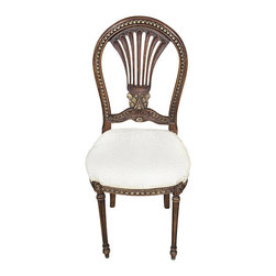MBW Furniture - French Style Antique Finish Cream Occasional Accent Side Chair - This is a gorgeous splat back antique finish cream ornate occasional accent side chair. It features a gorgeous back which has a distinguished decorative pierced splat with carved scrolls and gilded fancy fretwork. The beige seat is very comfortable and it has beautiful textured fabric with luxurious hemming around its edge. The seat rail is also adorned with gilded fretwork designs and floral accents and it has traditional fluted legs. Add a touch of elegance to your home decor with this beautiful piece of furniture!